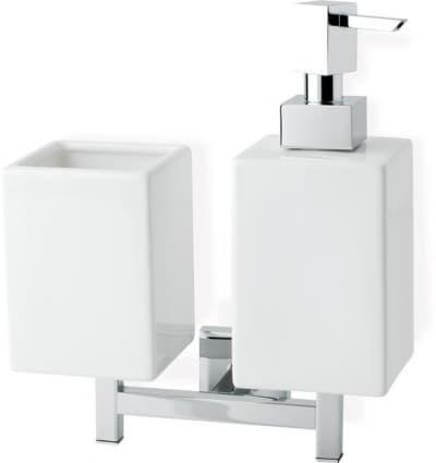 Stil Haus Urania, настенные керамические дозатор + стакан, цвет хром - белая керамика U14D(08-BI)