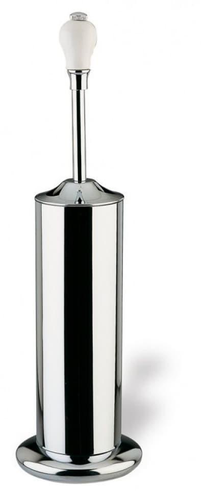 Stil Haus Nemi, напольный металлический ёршик для унитаза, цвет хром - белая керамика N039(39)