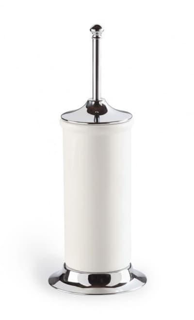 Stil Haus Idra, напольный керамический ёршик для унитаза с металлическим основанием, цвет хром - белая керамика I823(08-BI)