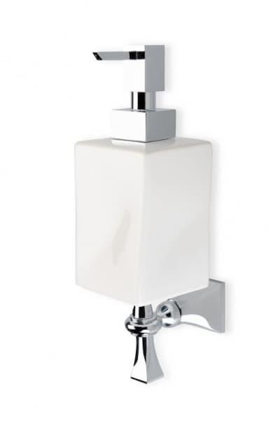 Stil Haus Prisma, настенный керамический дозатор, цвет хром - белая керамика PR30(08-BI)