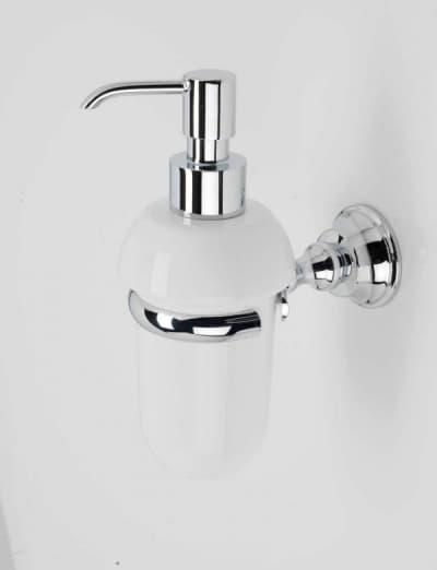 Stil Haus Smart, настенный керамический дозатор, цвет хром - золото - белая керамика SM30(02-BI)