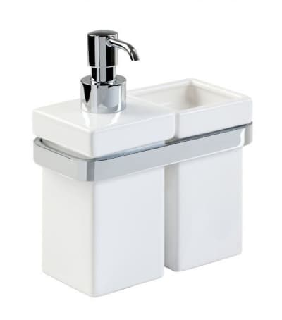 Stil Haus Mizar, настенные керамические дозатор + стакан, цвет хром - белая керамика MZ14(08-BI)