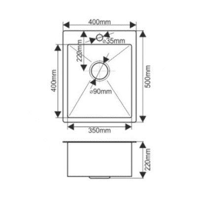 Мойка нержавеющая врезная 40х50 FABIA Profi (3.0х200) выпуск 3 1/2 с сифоном, с коландером
