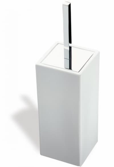 Stil Haus Urania, напольный керамический ёршик для унитаза, цвет никель сатин - белая керамика 633CUBE(36-BI)
