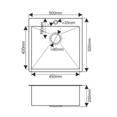 Мойка нержавеющая врезная 50х50 ГРАФИТ FABIA Profi (3.0х200) выпуск 3 1/2 с сифоном, с коландером