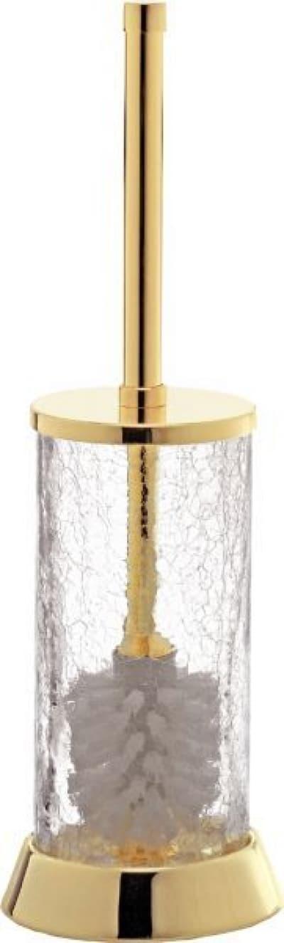 Surya Crystal, напол. ёршик для унитаза с крышкой на широком метал. основ., цвет хром - стекло с эффектом волны 6604/CH-WAV