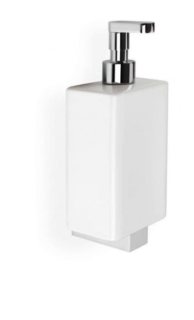 Stil Haus Gea, настенный керамический дозатор с прямым носиком, цвет хром - белая керамика GE30(08)