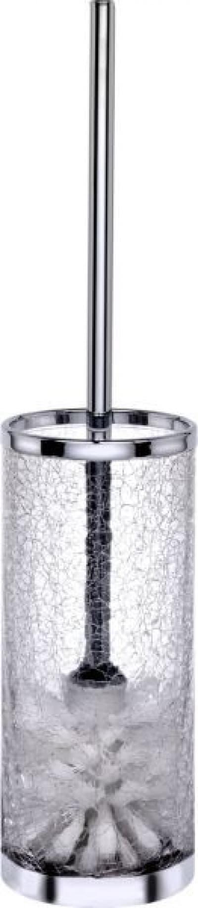 Surya Crystal, напольный ёршик для унитаза без крышки, цвет хром - стекло с эффектом волны 6609/CH-WAV