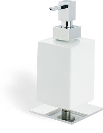 Stil Haus Urania, настольный керамический дозатор на ножке, цвет хром - белая керамика 618(08-BI)