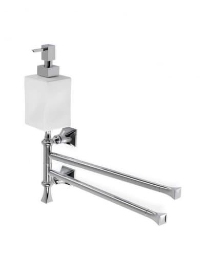 Stil Haus Prisma, полотенцедержатель двойной поворотный + керамич. дозатор, цвет хром - белая керамика PR18D(08-BI)