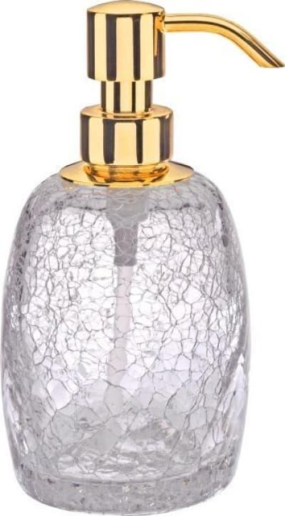 Surya Crystal, дозатор овальный с помпой V5, цвет золото - прозрачное стекло 6603/GO-OPG