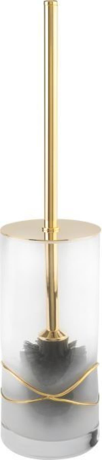 Surya Crystal Stream, напольный ёршик для унитаза с крышкой, цвет золото 6626/GO