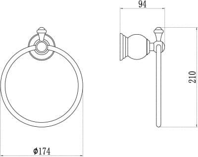 Держатель для полотенец кольцевой Savol S-05760B