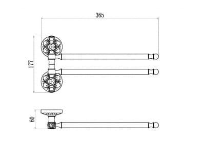 Держатель для полотенец поворотный (2-ой) Savol S-005802B