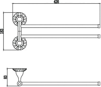 Держатель для полотенец поворотный (2-ой) Savol S-08902С