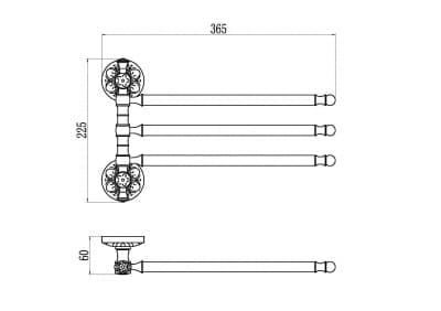 Держатель для полотенец поворотный (3-ой) Savol S-005803A