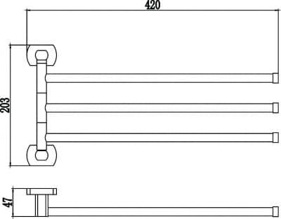 Держатель для полотенец поворотный (3-ой) Savol S-009903