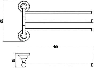 Держатель для полотенец поворотный (3-ой) Savol S-06803A