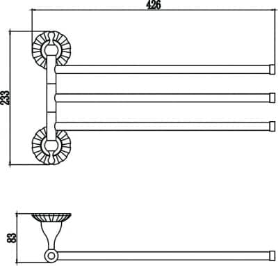 Держатель для полотенец поворотный (3-ой) Savol S-08903С