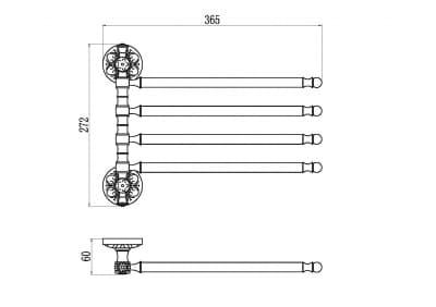 Держатель для полотенец поворотный (4-ой) Savol S-005804A