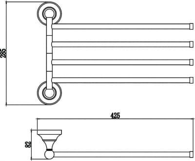 Держатель для полотенец поворотный (4-ой) Savol S-06804A