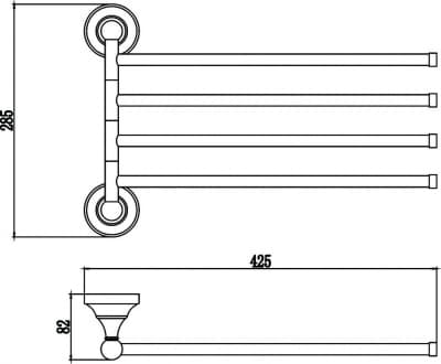 Держатель для полотенец поворотный (4-ой) Savol S-06804B