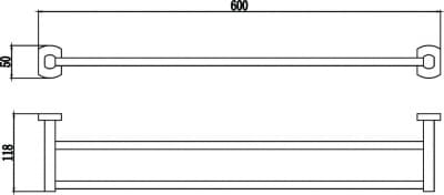 Держатель для полотенец прямой (2-ой) 60 см Savol S-009948
