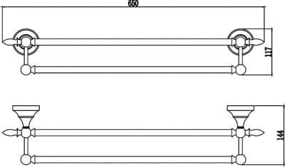 Держатель для полотенец прямой (2-ой) 60 см Savol S-06848B