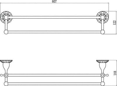 Держатель для полотенец прямой (2-ой) 60 см Savol S-08948С