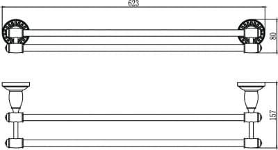 Держатель для полотенец прямой (2-ой) 60 см Savol S-606648H