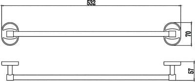 Держатель для полотенец прямой 50 см Savol S-007024