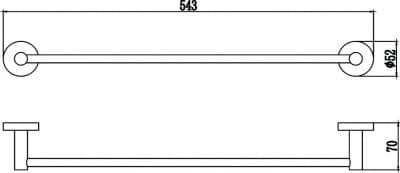 Держатель для полотенец прямой 50 см Savol S-508724