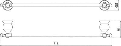 Держатель для полотенец прямой 60 см Savol S-05724B