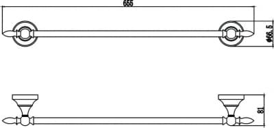 Держатель для полотенец прямой 60 см Savol S-06824B