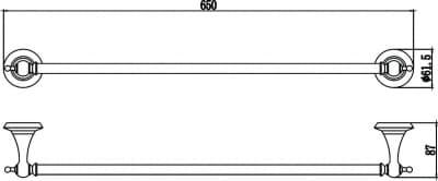 Держатель для полотенец прямой 60 см Savol S-06924W