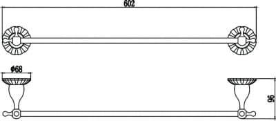 Держатель для полотенец прямой 60 см Savol S-08924С