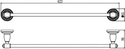 Держатель для полотенец прямой 60 см Savol S-606624С