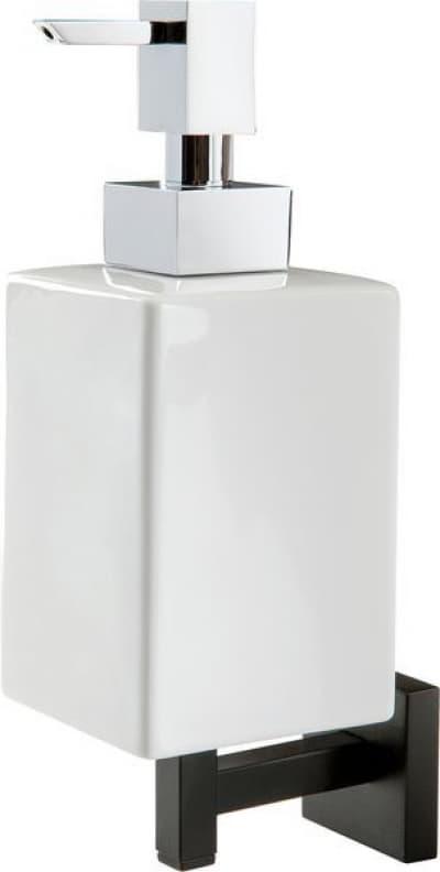 Stil Haus Urania, настенный керамический дозатор, цвет чёрный матовый - белая керамика U30(23-BI)