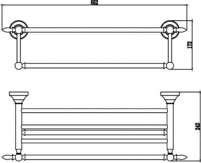 Полка для полотенец 60 см Savol S-06844B