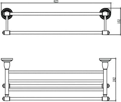 Полка для полотенец 60 см Savol S-606644С