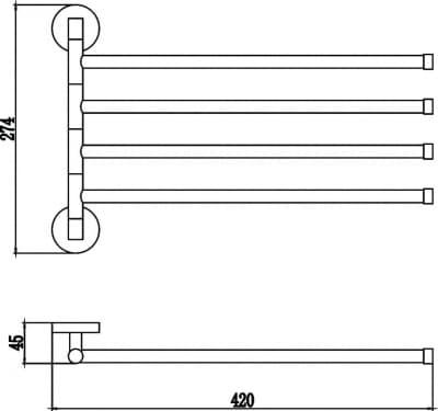 Полотенцедержатель поворотный 4-ой Savol S-008704