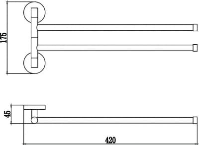 Полотенцедержатель поворотный двойной Savol S-008702