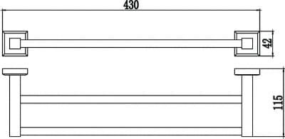 Полотенцедержатель трубчатый двойной 40см Savol S-409548