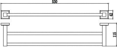 Полотенцедержатель трубчатый двойной 50см Savol S-509548