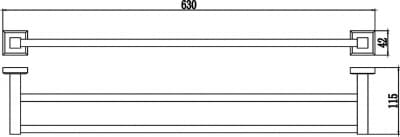 Полотенцедержатель трубчатый двойной 60см Savol S-609548