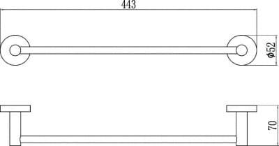 Полотенцедержатель трубчатый одинарный 40см Savol S-408724