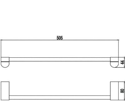 Полотенцедержатель трубчатый одинарный 50см Savol S-507324