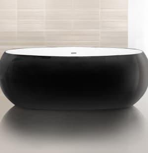 Ванна акриловая отдельностоящая BELBAGNO  BB18-NERO/BIA 1800