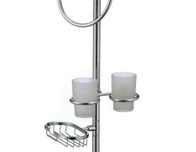 многофункциональная стойка Savol напольная черный квадрат стеклянный (стеклянная тарелка, кольцо, двойной стакан, мыльница решетка) S-00B04