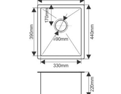 Мойка нержавеющая врезная 38х44 FABIA Profi (3.0х200) выпуск 3 1/2 с сифоном, с коландером